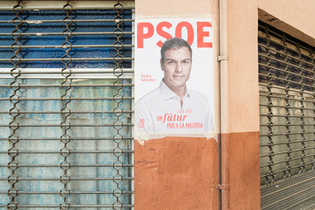 kickoff: ALICANTE, SPAIN-DECEMBER 5, 2015: Political campaign poster depicting oposition leader Pedro Sanchez on the kickoff to the 2015 elections.