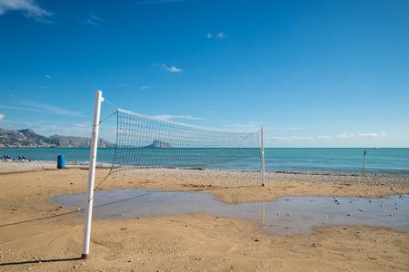 beach volley: Beach volley net on a sunny Costa Blanca resort beach, Spain