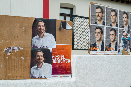 kickoff: ALICANTE, SPAIN-DECEMBER 511, 2015: Political campaign posters depicting several presidential candidates on the kickoff to the 2015 elections.