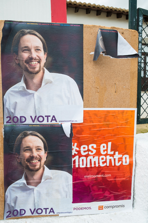 pablo: ALICANTE, SPAIN-DECEMBER 5, 2015: Political campaign posters depicting Pablo Iglesias, the upcoming left wing oppostion leader
