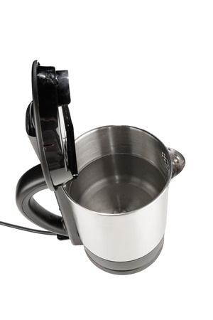 teakettle: High angle take of a stainless steel kettle full with water Stock Photo