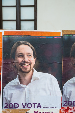 upcoming: ALICANTE, SPAIN-DECEMBER 5, 2015: Political campaign posters depicting Pablo Iglesias, the upcoming left wing oppostion leader