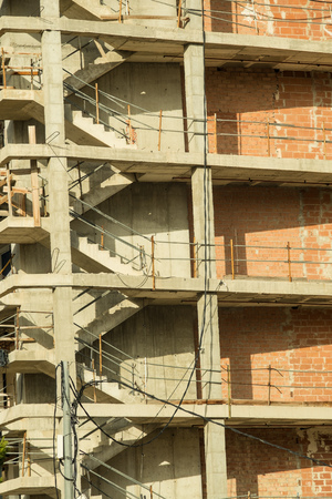 high rise building: Unfinished concrete structure of a high rise building Stock Photo