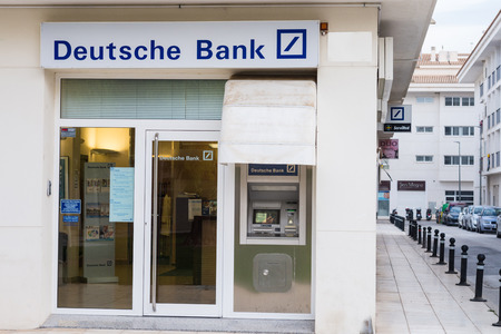 scandals: ALICANTE, SPAIN - DECEMBER 14, 2015:  Deutsche Bank branch. Deutsche Bank is one of Europes leading banks and has been involved in some financial scandals recently