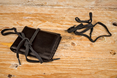 shoestring: Wallet on a shoestring, a financial concept