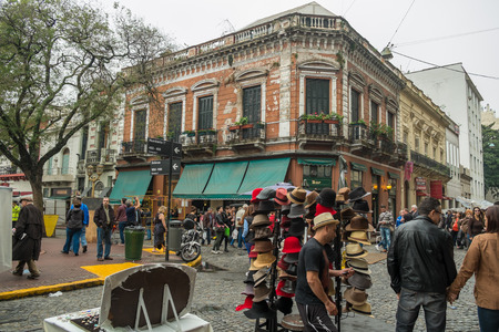 BUENOS AIRES, ARGENTINA - AUGUST 9 2015:  People strolling on traditional San Telmo Market
