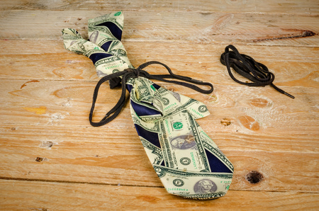 shoestring: On a shoestring, a tight finances concept Stock Photo