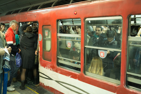 BUENOS AIRES, ARGENTINA - AUGUST 10 2015: Crowded subway  wagon at the evening rush hour.