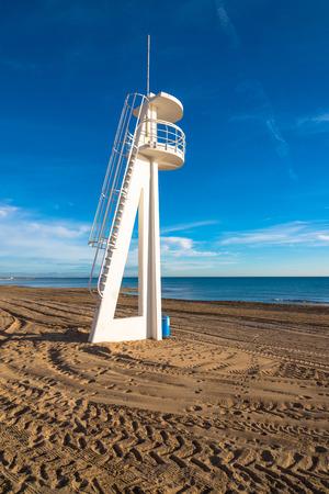blanca: A large lifeguard watchtower on Torrevieja beach, Costa Blanca, Spain