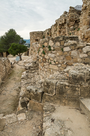 remains: Remains of the Arabic  castle in Denia, Costa Blanca, Spain