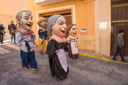 COSTA BLANCA, SPAIN - JANUARY 16:  Parade of cabezudos, disguises with oversized heads, during a traditonal festival Imagens - 52228832