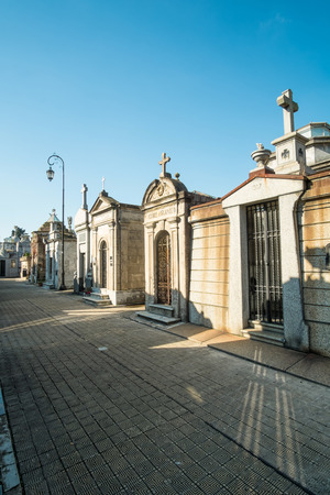peron: BUENOS AIRES, ARGENTINA - AUGUST 15 2015:  Recoleta Cemetry in downtown Buenos Aires,  a popular landmark with tourists and burial place of Eva Peron Editorial