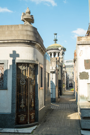 cemetry: BUENOS AIRES, ARGENTINA - AUGUST 15 2015:  Recoleta Cemetry in downtown Buenos Aires,  a popular landmark with tourists and burial place of Eva Peron Editorial