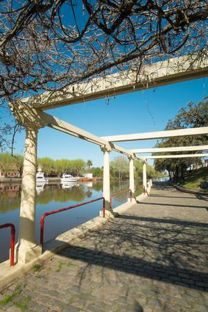 bank of america: Carmelo river harbor on a sunny day, Uruguay Stock Photo