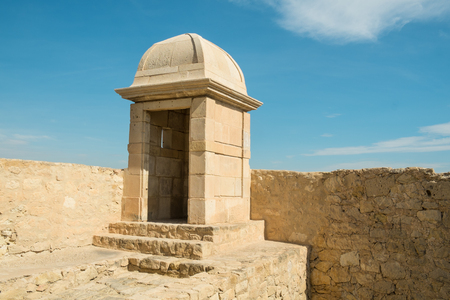 santa barbara: Sentry box at Alicante Santa Barbara castle, Spain