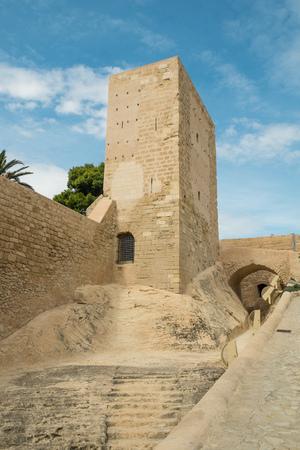 santa barbara: One of the towers of Santa Barbara Castle, Alicante, Spain