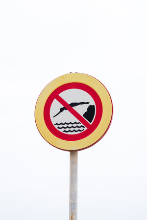 no diving sign: No diving sign against a white background