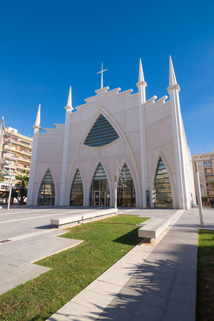 blanca: Modern Torrevieja cathedral, Costa Blanca, Spain
