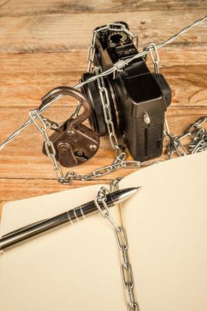 withhold: Struggle for freedom of press, a concept Stock Photo