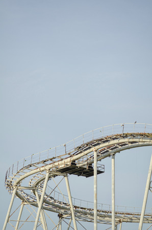 worn structure: Deteail take of a roller coaster  bend Stock Photo