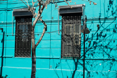 montevideo: Colorful old town facade in Montevideo, Uruguay