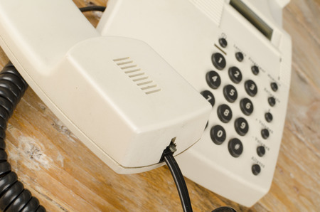 handset: Traditional phone receiver with  handset and cord Stock Photo