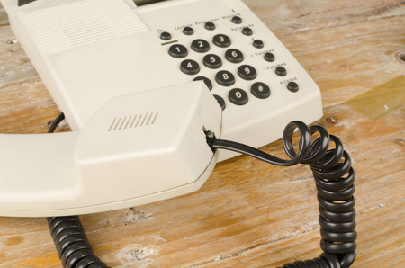 receiver: Traditional phone receiver with  handset and cord Stock Photo