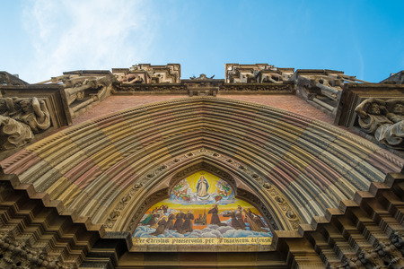 neo gothic: Neo gothic portico of Iglesia de los Capuchinos, Cordoba,  Argentina