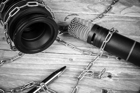 libertad: Las amenazas contra la libertad de prensa, un concepto Foto de archivo