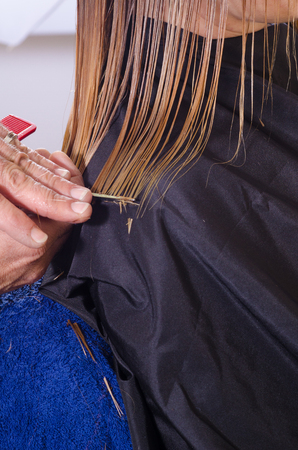 dyed hair: Hairdresser trimming a customers freshly dyed hair Stock Photo