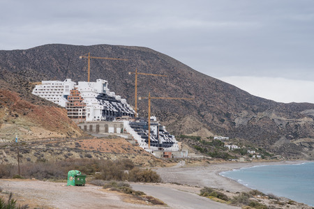 scandals: ALMERIA, SPAIN - APRIL 7, 2016: Stopped El Algarrobico hotel project, one of the major political scandals in Spain, a large tourist project developped illegaly in a protected area