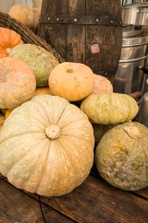 street market: Assorted pumpkins on a street market stall Stock Photo