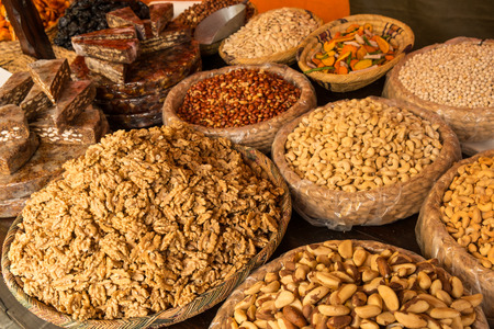 street market: Dried fruit and seeds on a  street market stall