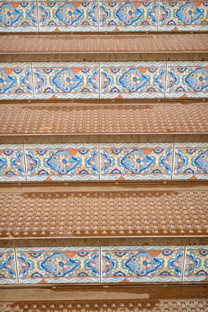 andalusian: Andalusian staircase with beautiful terracotta tiles Stock Photo