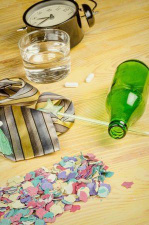 hangover: Still life of the aftermath of a party that ended in a hangover, a concept. Stock Photo