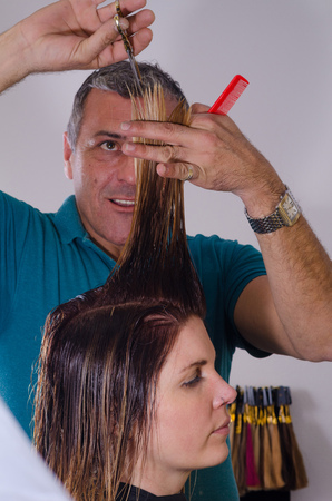 trimming: Hairdresser trimming a customers freshly dyed hair Stock Photo