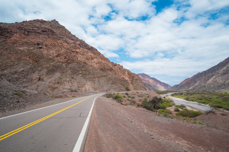 andes mountain: Scenic mountain road  running along a valley in the Argentinian Andes