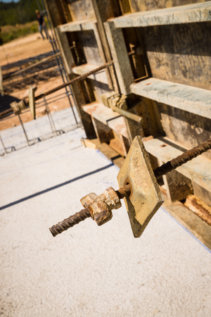 formwork: Concrete shuttering formwork detail on a construction site Stock Photo