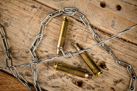 barbed wire: Bullet shells  and barbed wire, a concept