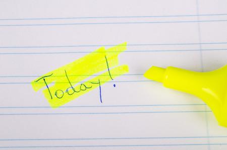 highlighting: Text marker highlighting a core idea, a concept Stock Photo