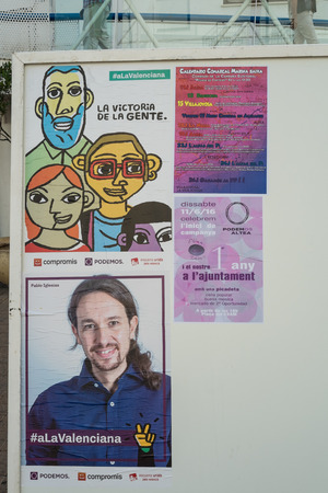pablo: VALENCIA, SPAIN-JUNE 10, 2016: Political campaign poster depicting left wing presidential candidate Pablo Iglesias