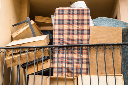 removals: The whole mess that goes with a removal piled up on  a terrace