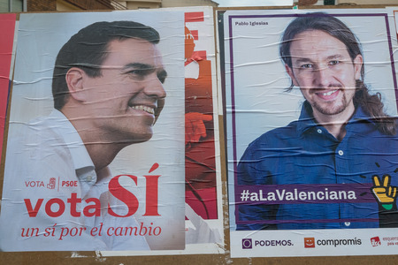 pablo: VALENCIA, SPAIN-JUNE 11, 2016: Political campaign poster depicting left wing presidential candidates Pablo Iglesias and Pedro Sanchez Editorial