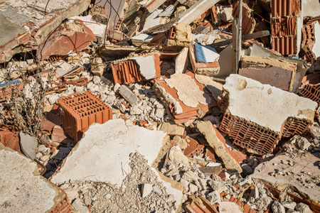 Full frame take of demolition rubble