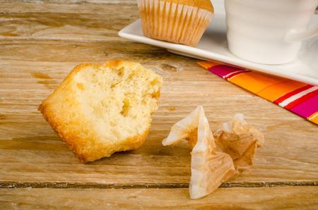 Bitten in muffin on  breakfast table
