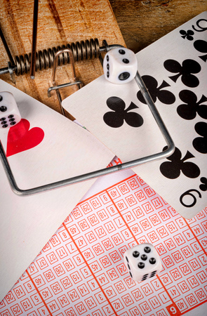 compulsive: Assorted objects representing addiction to gambling