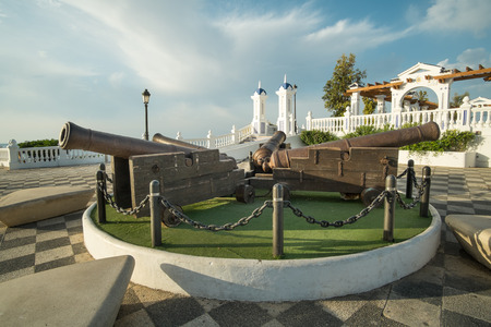 blanca: Vintage cannons in Benidorm waterfront park, Costa Blanca, Spain Stock Photo