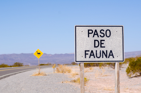 Roadsign in the Argentinian Andes warning of Wildlife Crossing