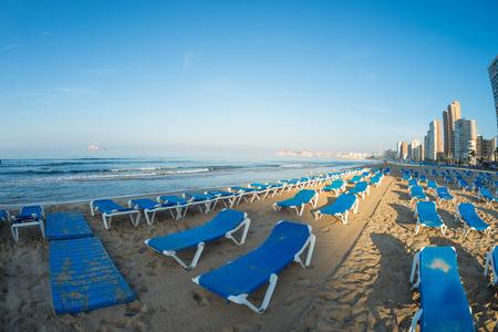 Early morning on Benidorm resort beach in a fisheye take Stock Photo