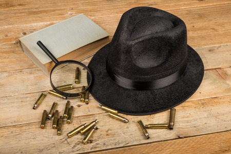genre: Conceptual still life standing for film noir and crime and mystery novel genre Stock Photo